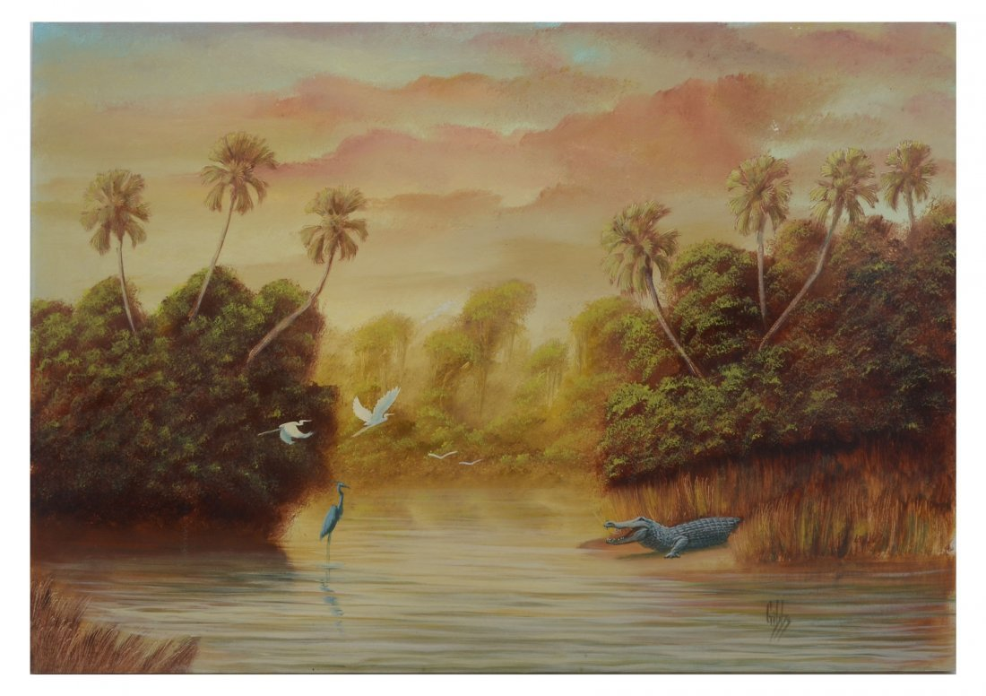 JOE GIBBS FLORIDA PAINTING WITH GATOR AND HERONS