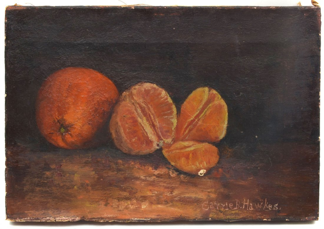 CARRIE B. HAWKES STILL LIFE PAINTING OF ORANGES