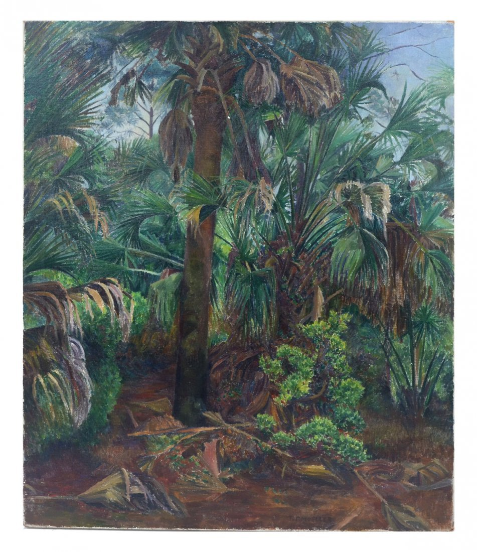 T. C. MUELLER FLORIDA JUNGLE PAINTING
