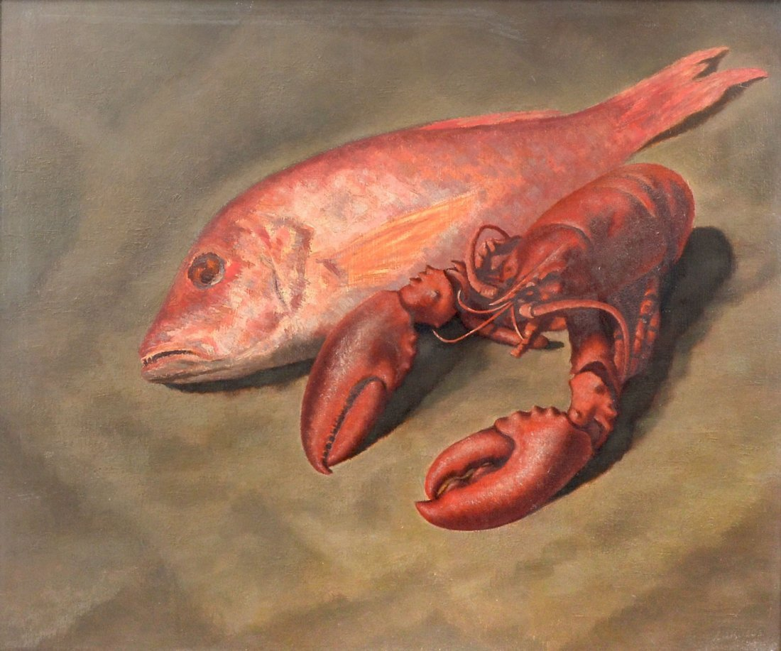 """EXHIBITED ELMER LAKATOS PAINTING """"SNAPPERS"""""""