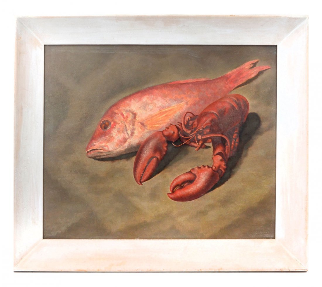 """EXHIBITED ELMER LAKATOS PAINTING """"SNAPPERS"""" - 2"""