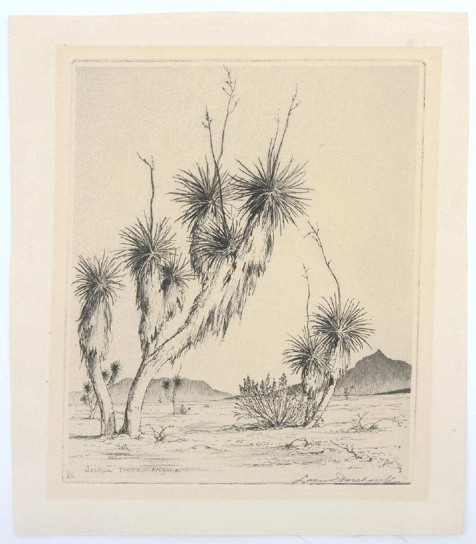 LEON PESCHERET ETCHING ''JOSHUA TREES, ARIZONA''