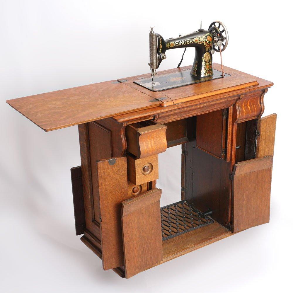 GOLDEN OAK SINGER SEWING MACHINE - 2