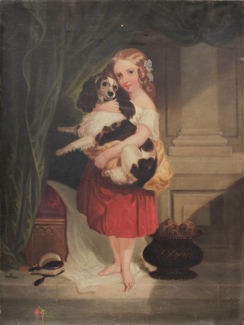 19TH C. GENRE PAINTING OF GIRL & DOG