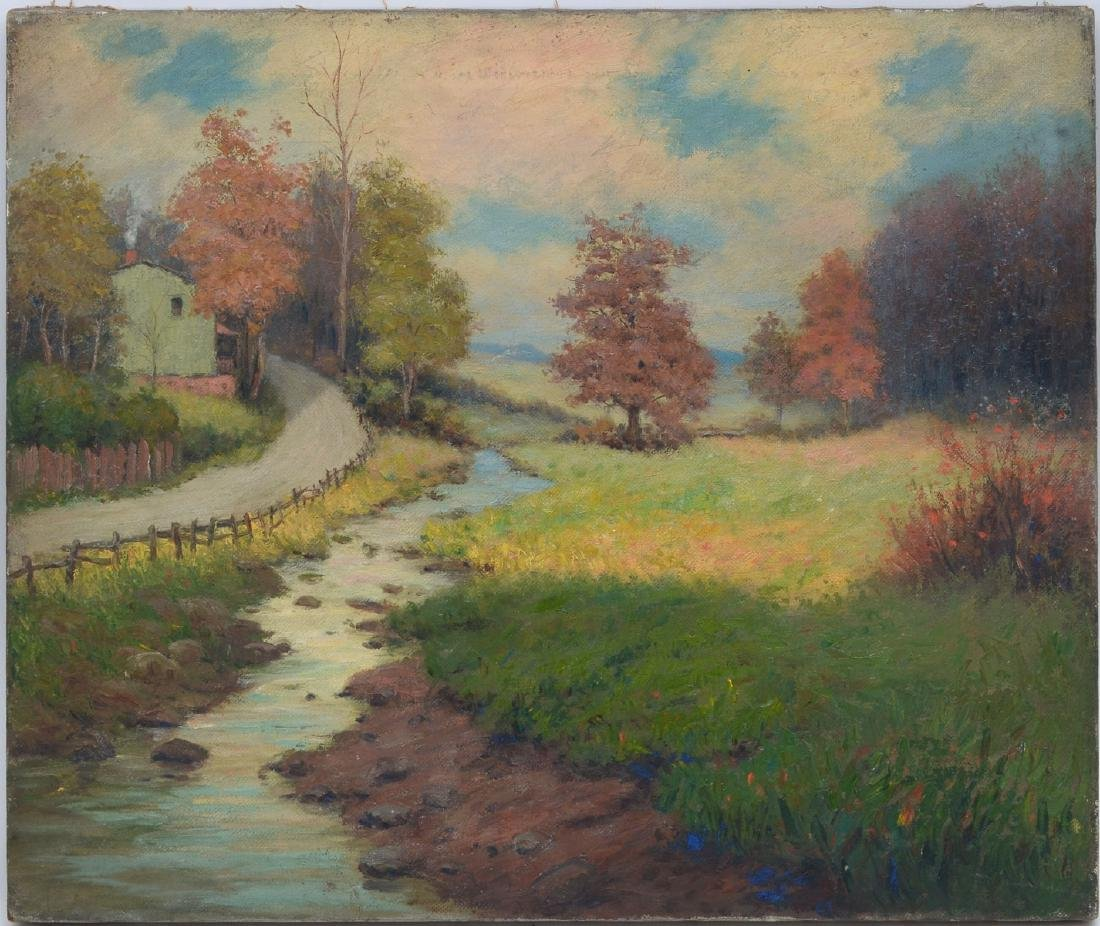 UNSIGNED AUTUMNAL LANDSCAPE PAINTING