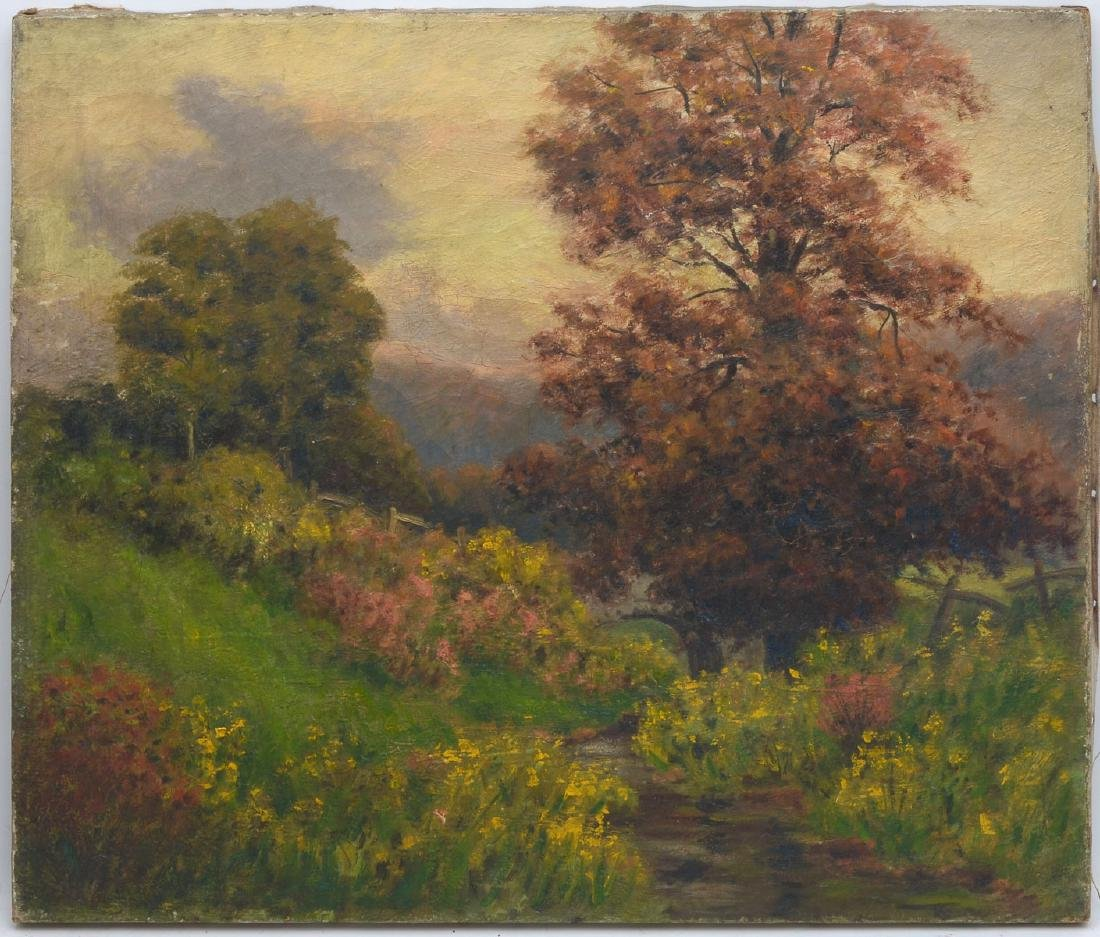 LUSH LANDSCAPE PAINTING WITH STREAM