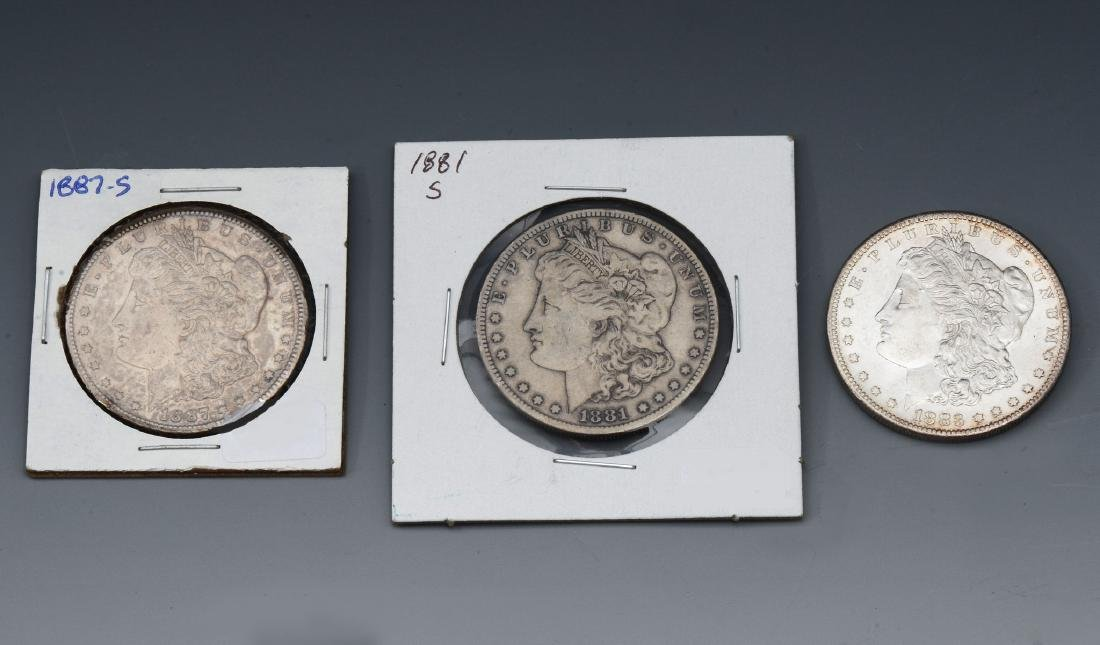 3 PC. MORGAN SILVER DOLLARS