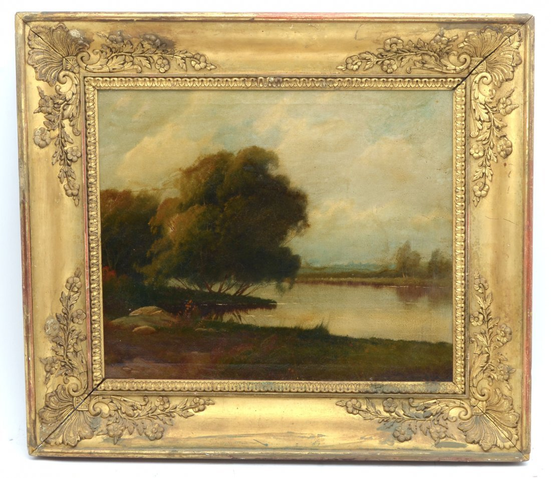 PEACEFUL COUNTRY RIVER LANDSCAPE PAINTING