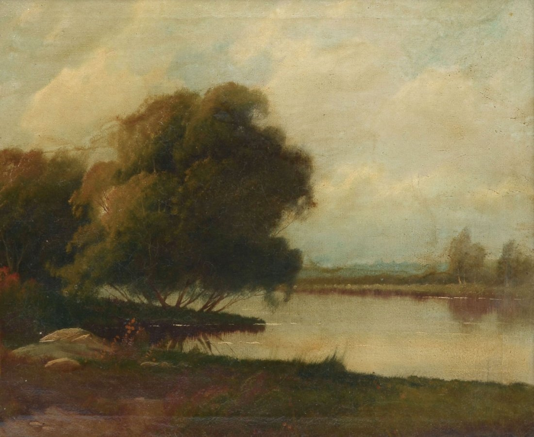 PEACEFUL COUNTRY RIVER LANDSCAPE PAINTING - 2