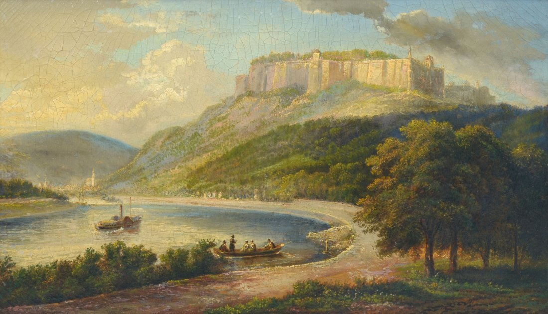19TH C. EUROPEAN RIVER LANDSCAPE WITH FORTRESS
