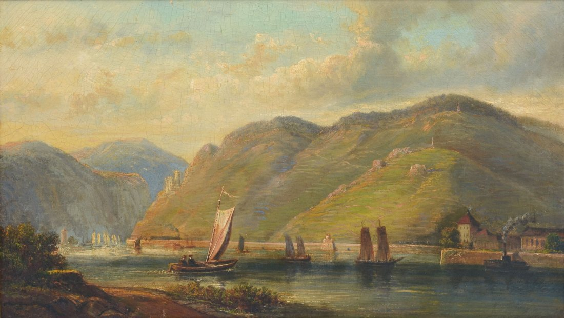 19TH CENTURY EUROPEAN RIVER VALLEY LANDSCAPE PAINTING