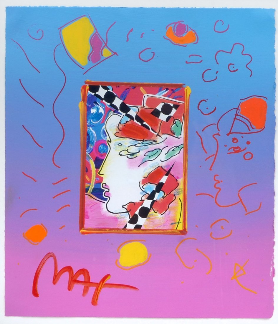 PETER MAX MIXED MEDIA ON PAPER