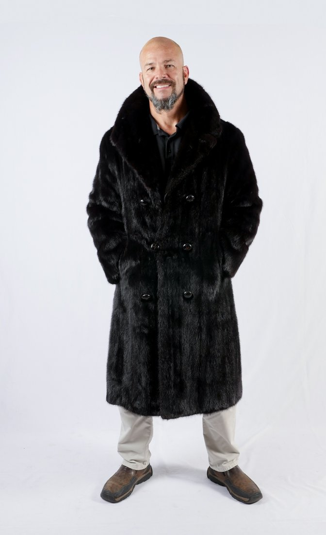 MENS FULL LENGTH DOUBLE BREASTED MINK COAT