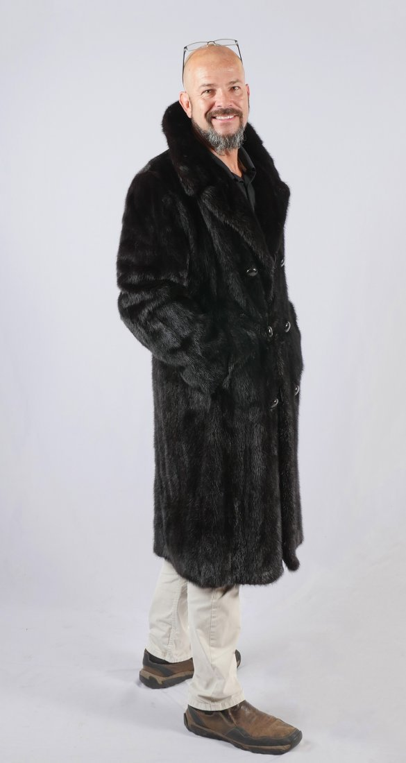 MENS FULL LENGTH DOUBLE BREASTED MINK COAT - 2
