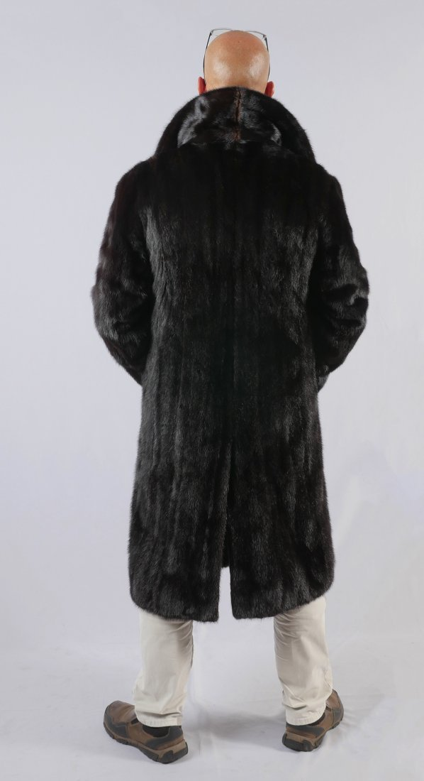 MENS FULL LENGTH DOUBLE BREASTED MINK COAT - 3
