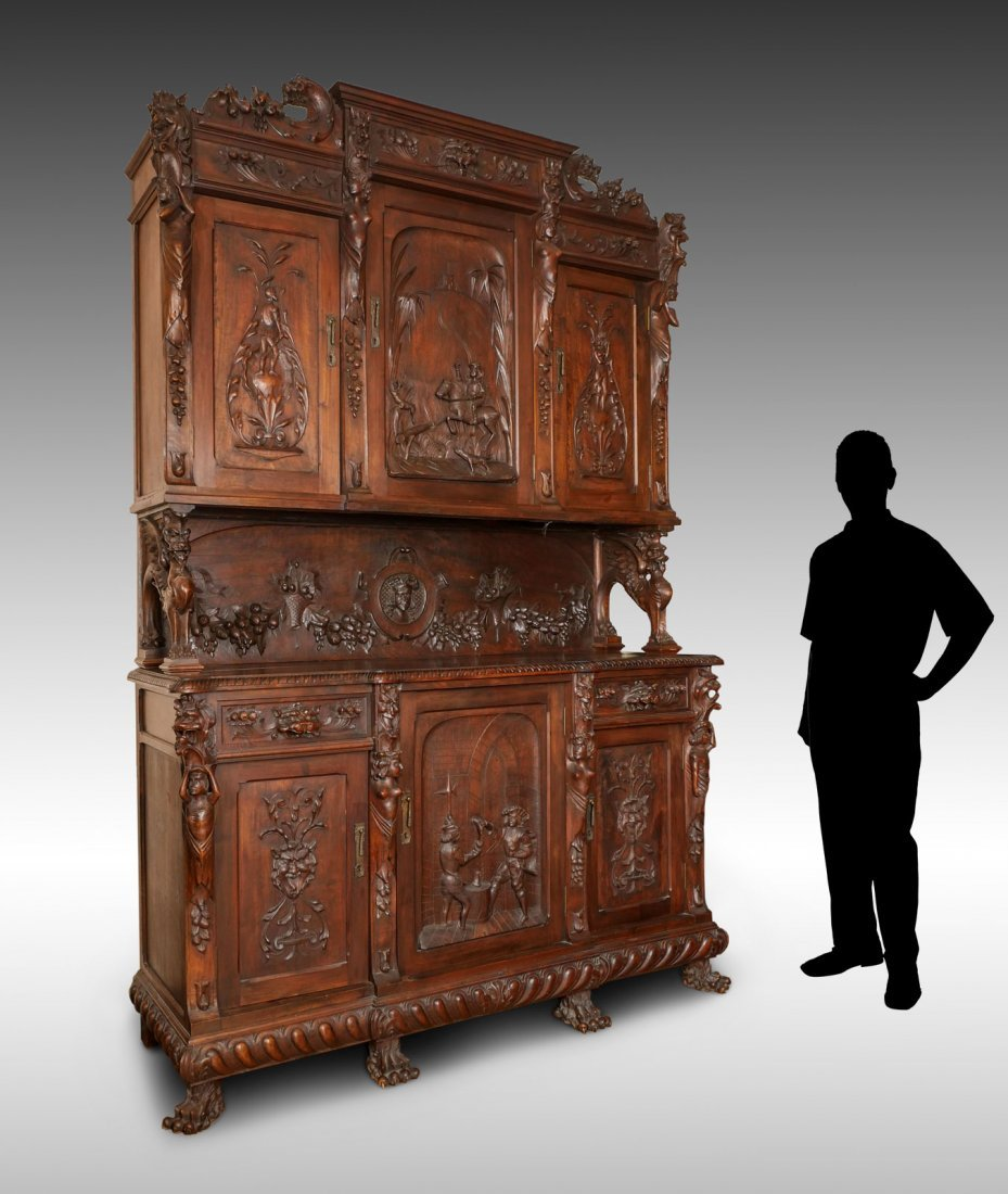LARGE HEAVILY CARVED BELGIAN STEP BACK CUPBOARD - 10