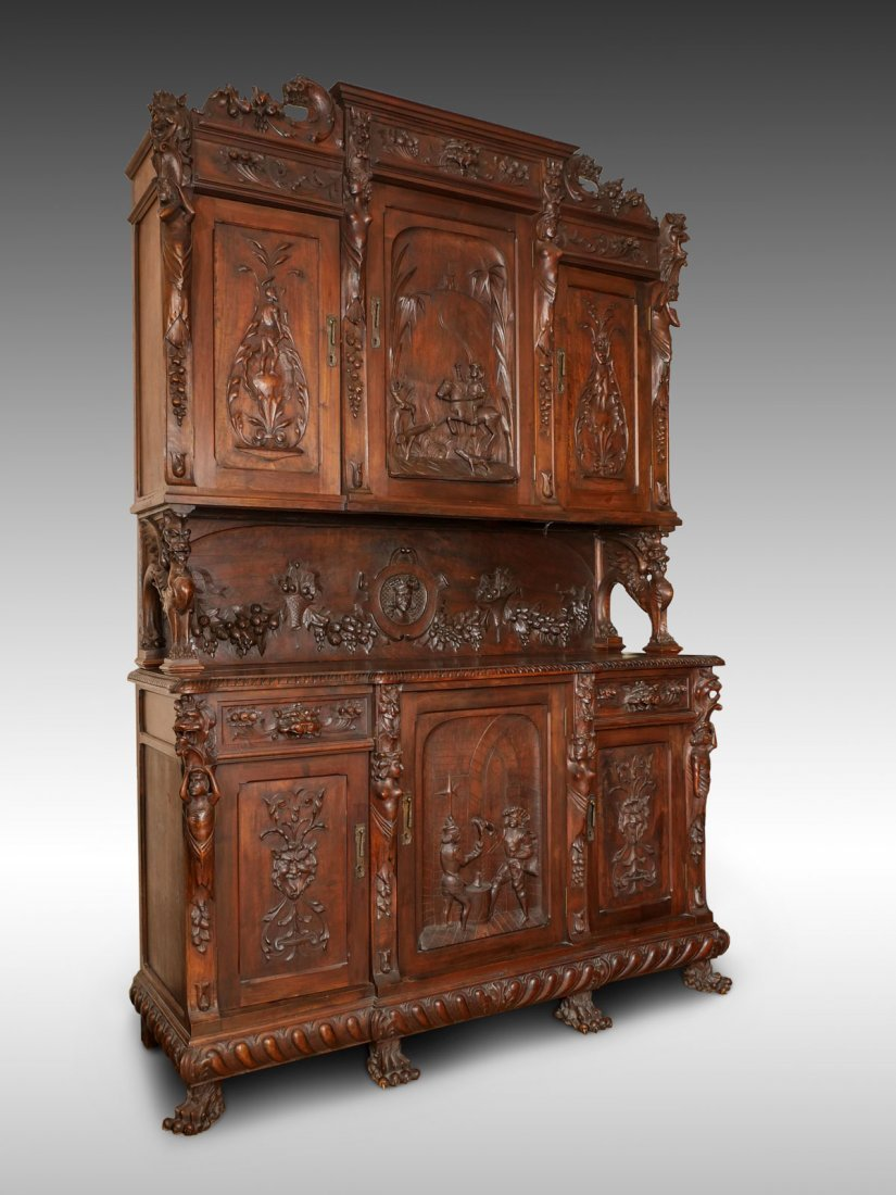 LARGE HEAVILY CARVED BELGIAN STEP BACK CUPBOARD