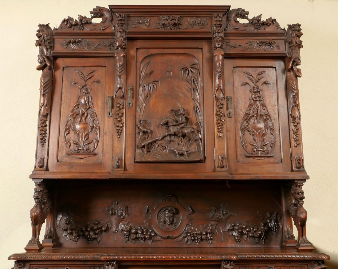 LARGE HEAVILY CARVED BELGIAN STEP BACK CUPBOARD - 2