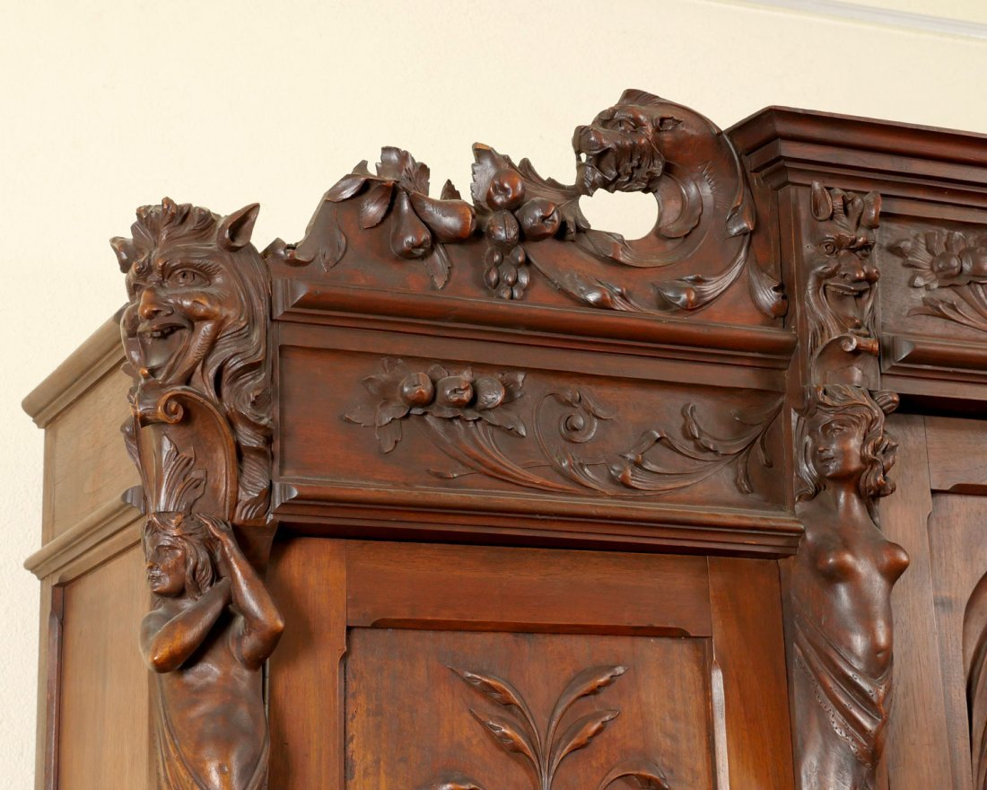 LARGE HEAVILY CARVED BELGIAN STEP BACK CUPBOARD - 3