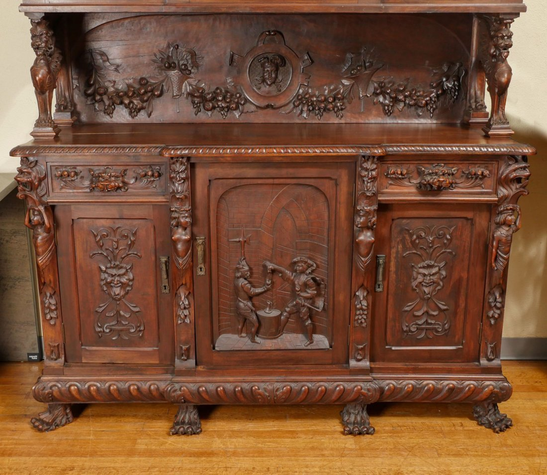 LARGE HEAVILY CARVED BELGIAN STEP BACK CUPBOARD - 4