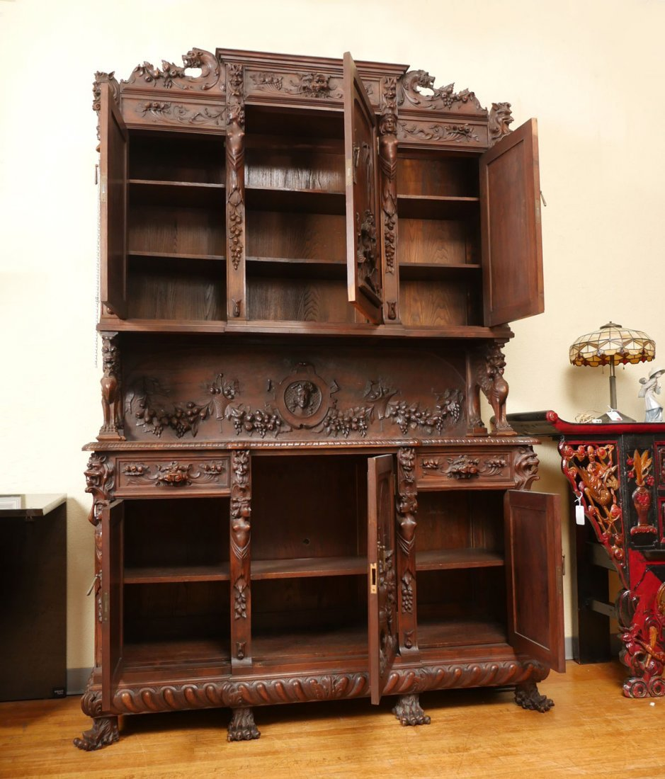 LARGE HEAVILY CARVED BELGIAN STEP BACK CUPBOARD - 9