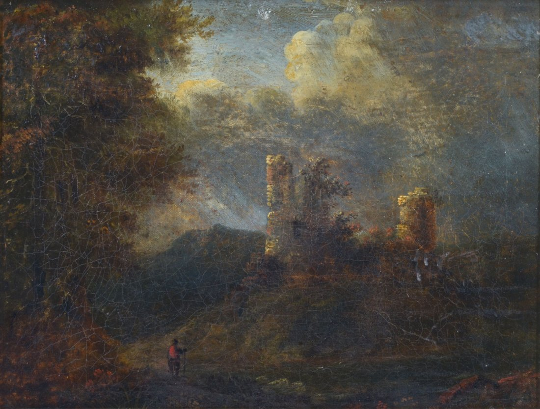 19th CENTURY LANDSCAPE PAINTING WITH CASTLE RUINS: