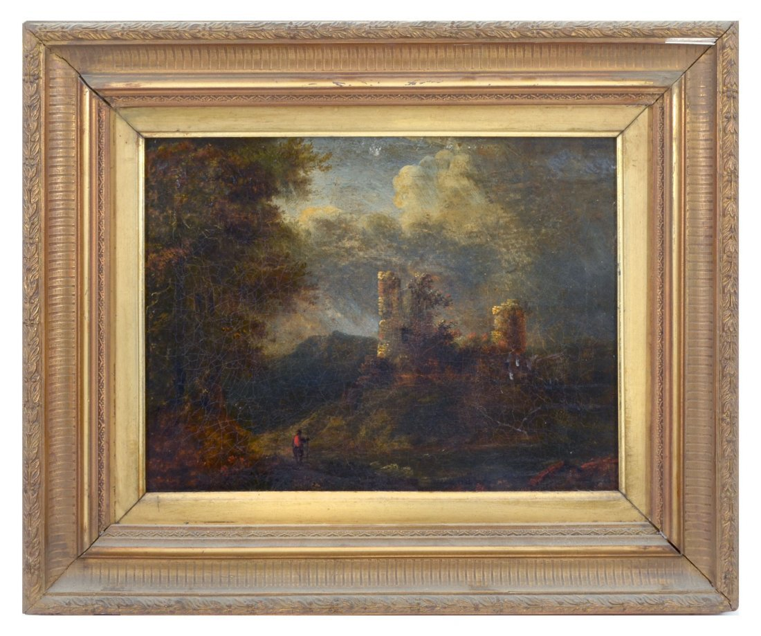 19th CENTURY LANDSCAPE PAINTING WITH CASTLE RUINS: - 2
