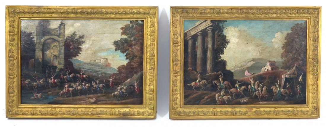 PAIR OF 19TH C. OLD MASTERS STYLE BATTLE PAINTINGS