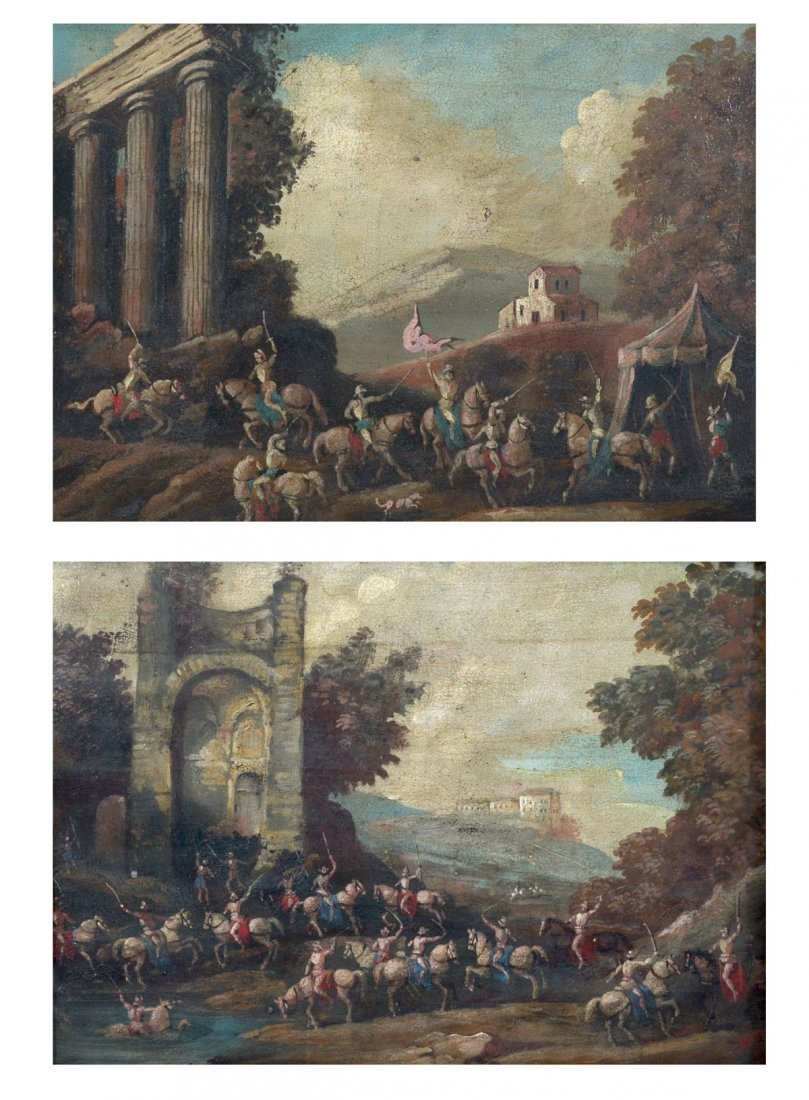 PAIR OF 19TH C. OLD MASTERS STYLE BATTLE PAINTINGS - 2