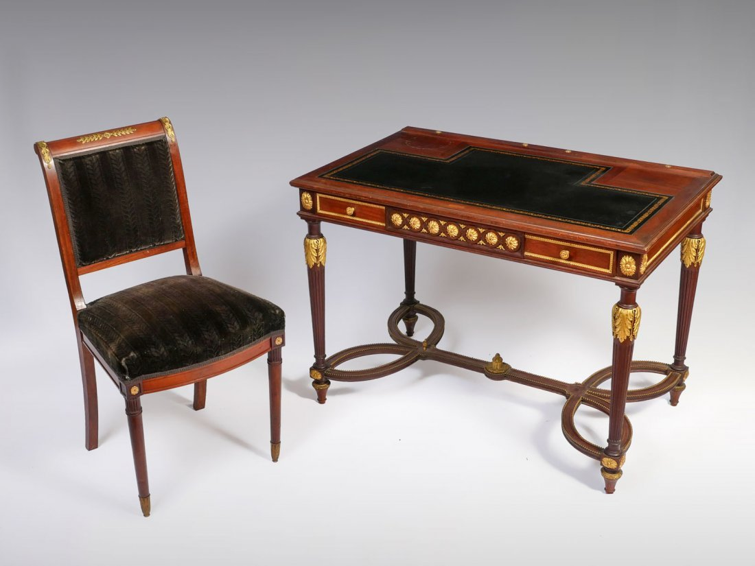 FRENCH EMPIRE STYLE DESK AND CHAIR