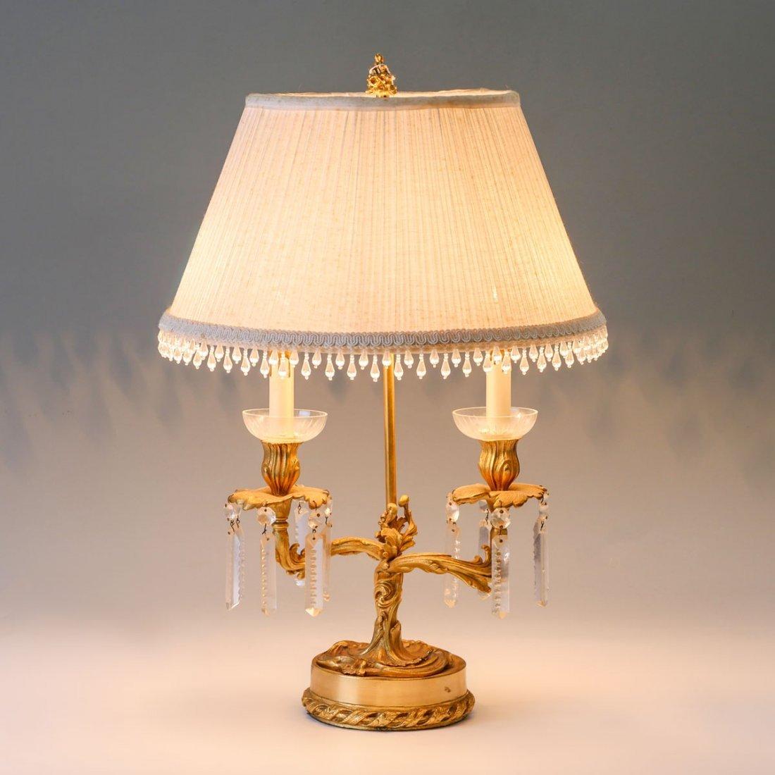 ART NOUVEAU 2-LIGHT DORE BRONZE LAMP