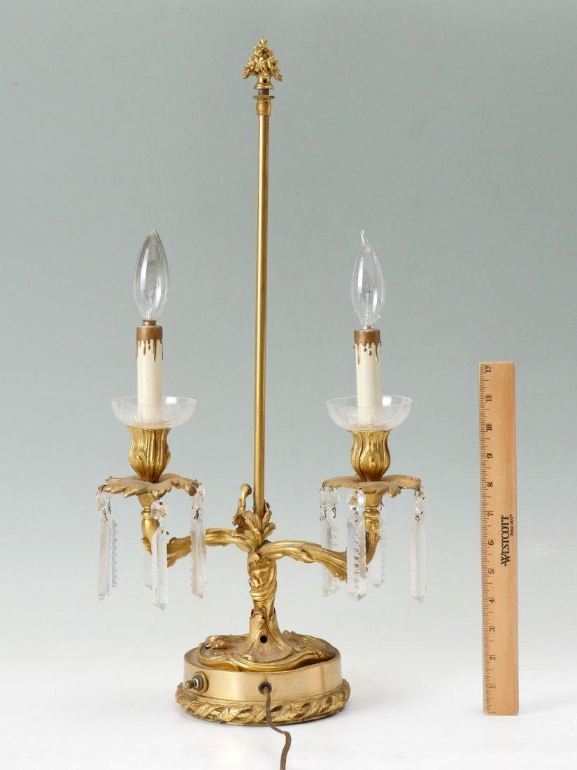 ART NOUVEAU 2-LIGHT DORE BRONZE LAMP - 2