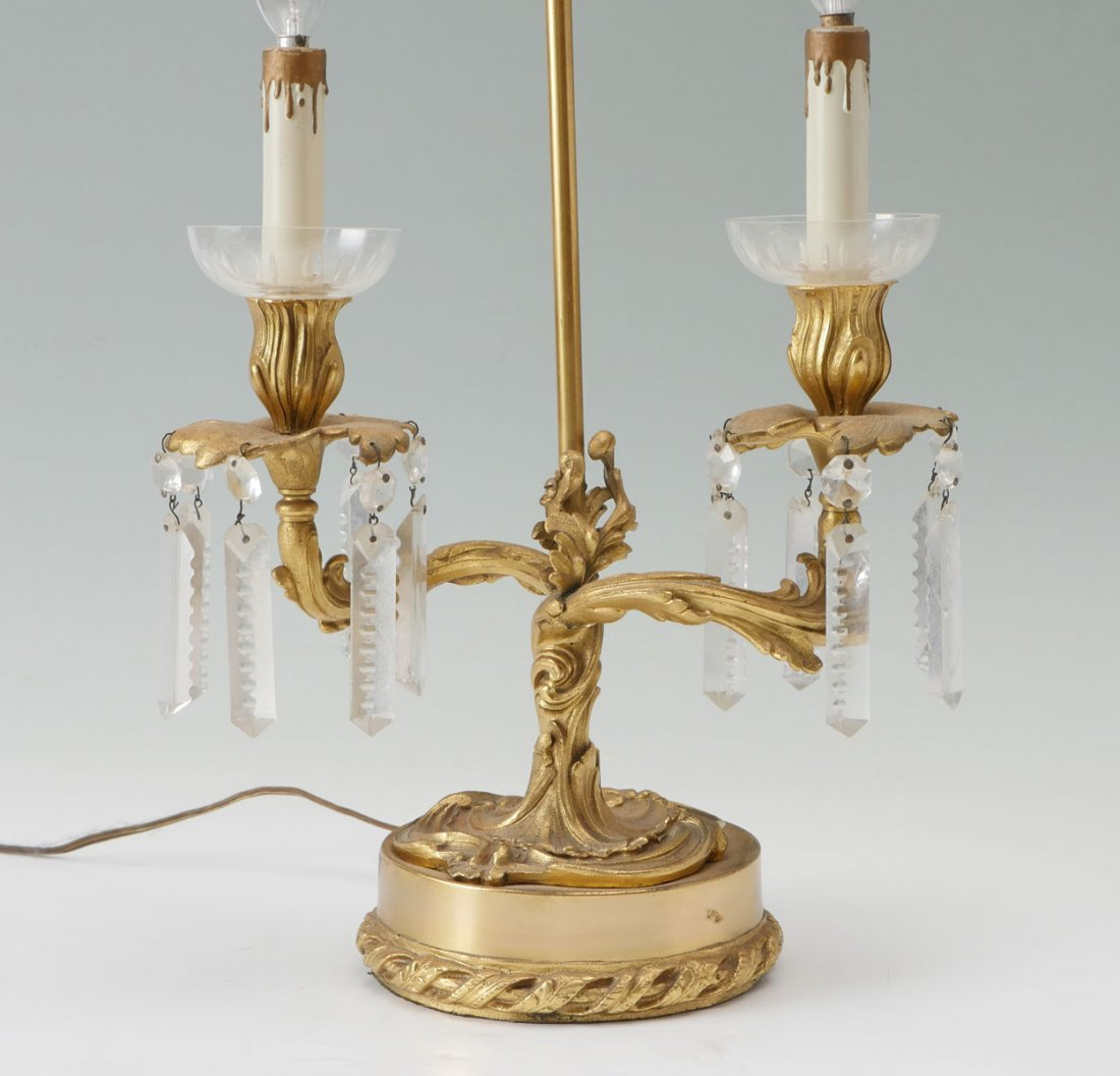 ART NOUVEAU 2-LIGHT DORE BRONZE LAMP - 3