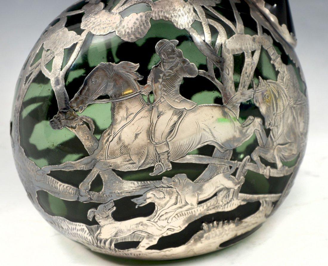 19TH CENTURY GORHAM STERLING OVERLAY GREEN DECANTER - 2