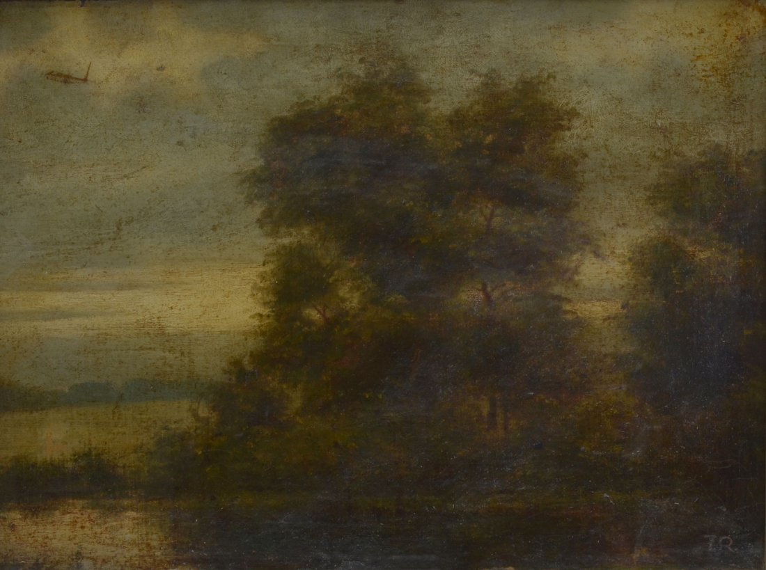 GOOD 19TH CENTURY MYSTERY RIVER LANDSCAPE PAINTING