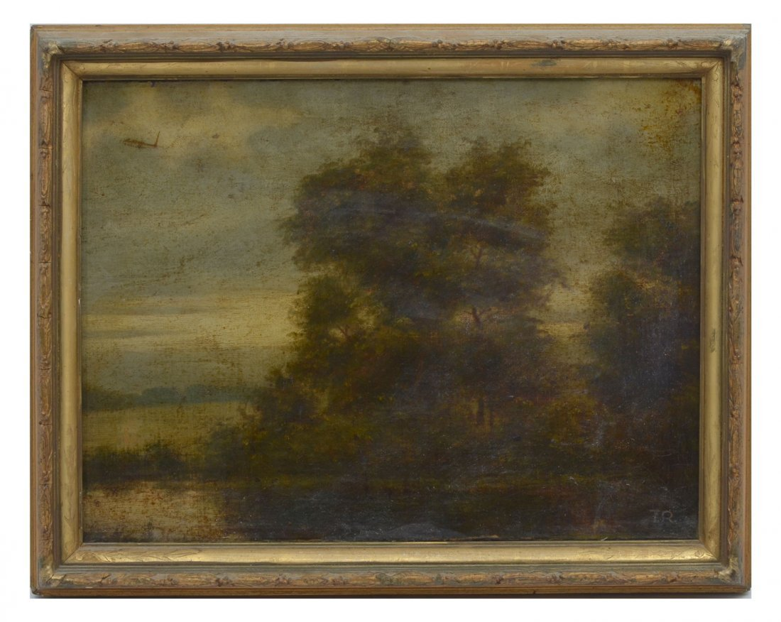 GOOD 19TH CENTURY MYSTERY RIVER LANDSCAPE PAINTING - 2