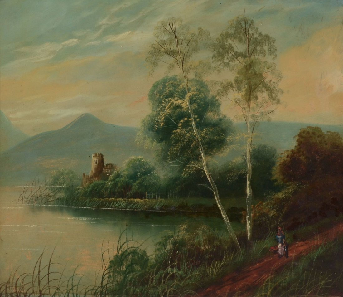 EUROPEAN COUNTRY RIVER LANDSCAPE PAINTING