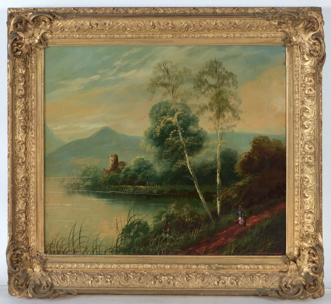 EUROPEAN COUNTRY RIVER LANDSCAPE PAINTING - 2