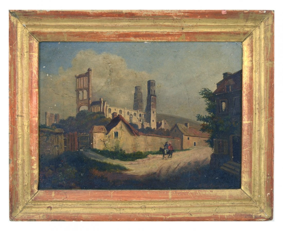 ILLEGIBLY SIGNED 19TH C. MINIATURE LANDSCAPE PAINTING - 2