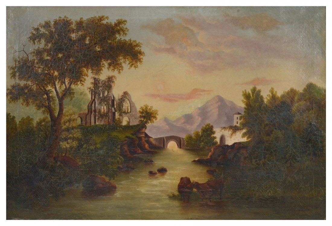 19TH CENTURY LANDSCAPE WITH RUINS