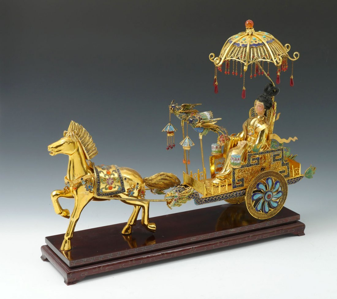 CHINESE GILT FILIGREE & CLOISONNE HORSE AND CART