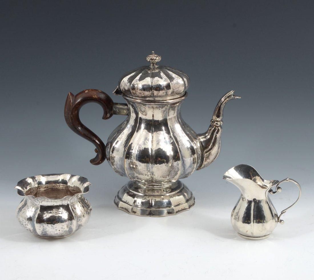 3 PIECE 800 FINE HAMMERED SILVER TEA SET