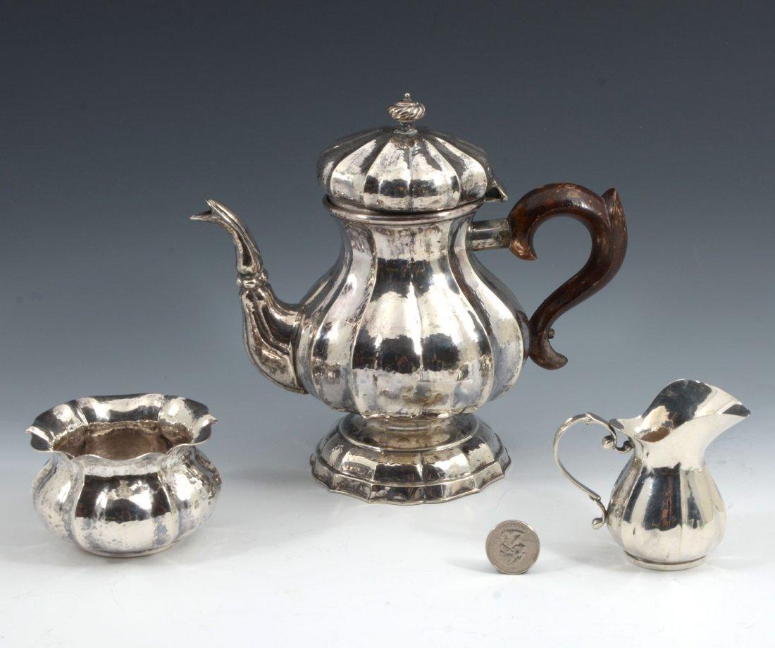 3 PIECE 800 FINE HAMMERED SILVER TEA SET - 2
