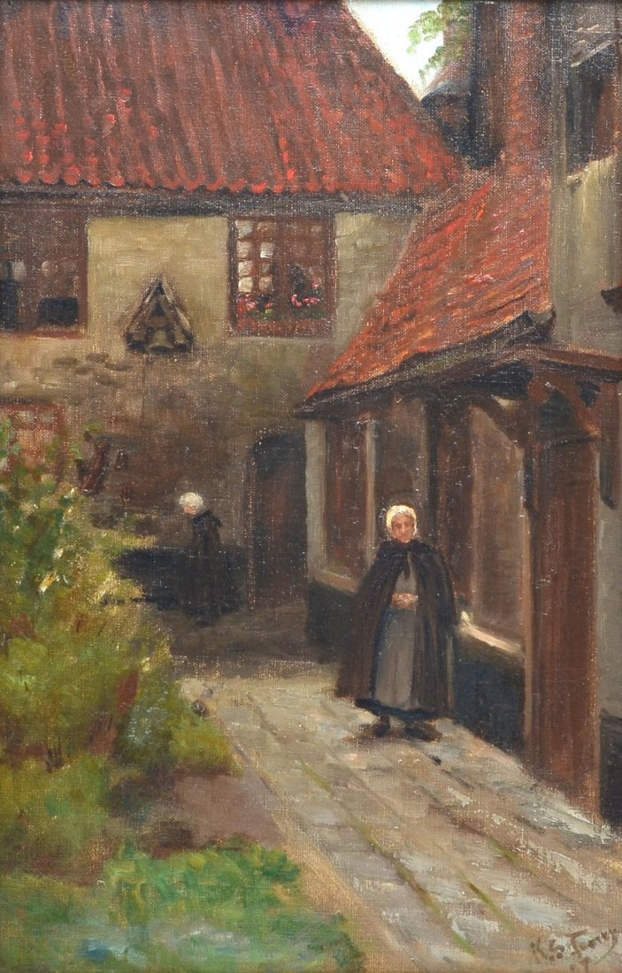 ILLEGIBLY SIGNED 19TH CENTURY COURTYARD PAINTING