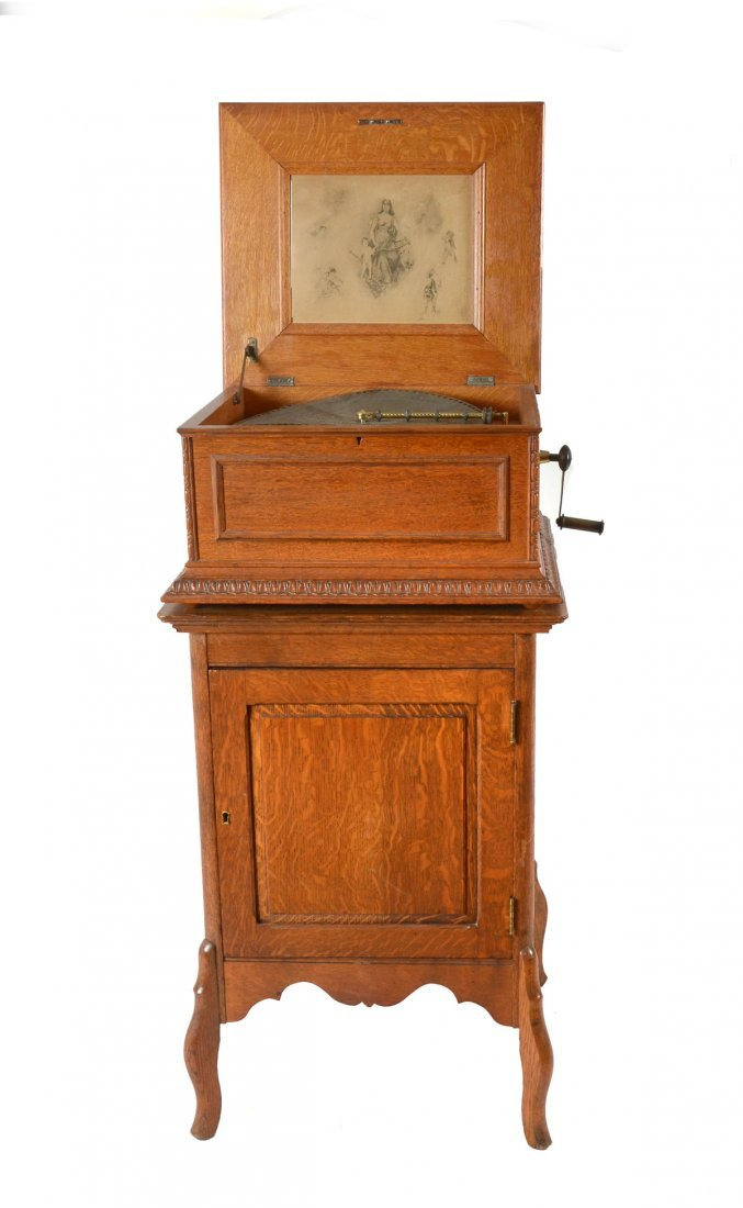 REGINA DOUBLE COMB DISC MUSIC BOX AND BASE CABINET