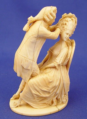 1: EURO CARVED IVORY FIGURE MARIE ANTOINETTE signed