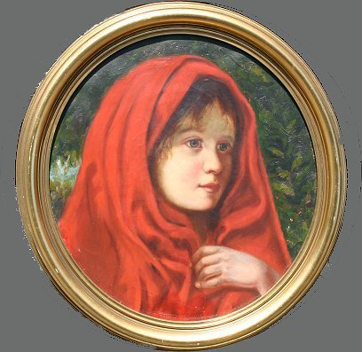 10: 19TH C RED RIDING HOOD PAINTING