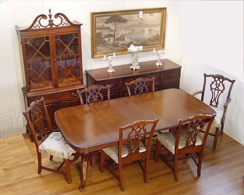 13: 9 PC CHIPPENDALE STYLE MAHOGANY DINING SET