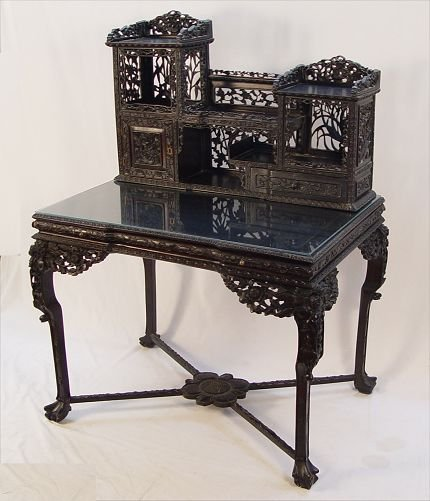 97: CHINESE MEIJI PERIOD  HEAVILY CARVED DESK