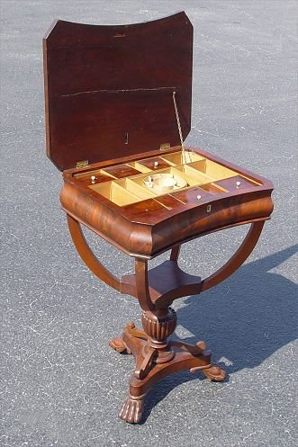 3: 19TH CENTURY WORK STAND FITTED INTERIOR